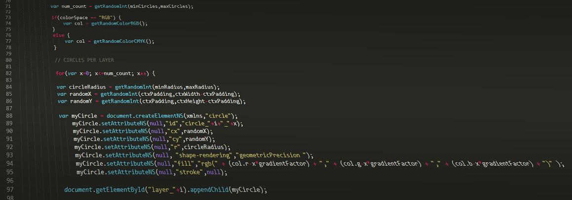 Mockup des JavaScript Codes, mit dem das InProD2 Logo generiert wird