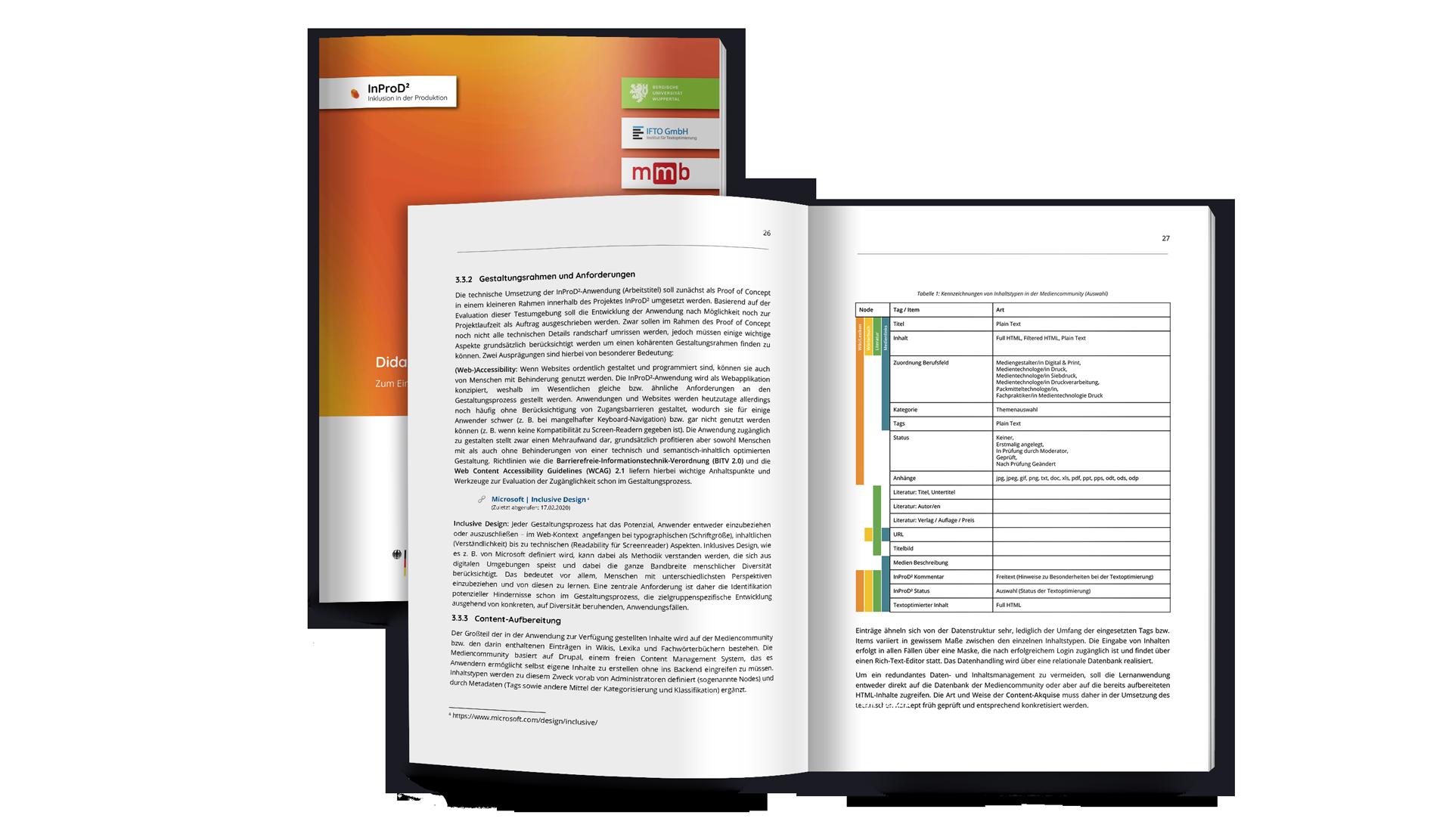 Mockup des technisch-didaktischen Konzepts als Broschüre, einmal geschlossen, darüber eine aufgeschlagene Version